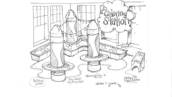 A concept drawing for the potential new coloring station