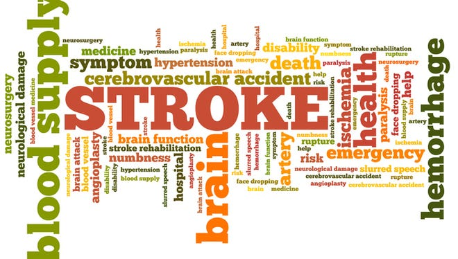 Stroke - health concepts word cloud illustration. Word collage concept.