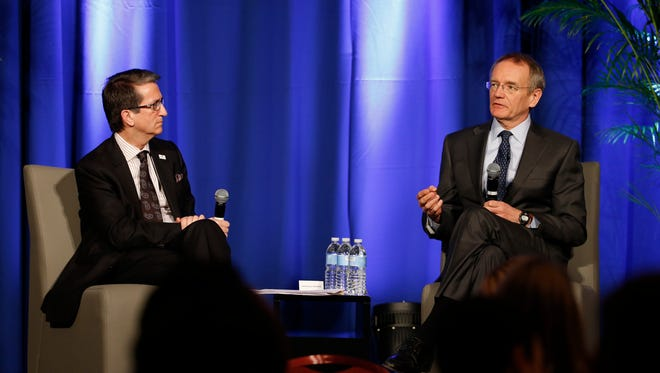 Dr. Troyen Brennan, chief medical officer of CVS Health, right, talked about the company's role in providing health care services at a forum hosted by the Nashville Health Care Council on Friday, Feb. 19. Donato Tramuto, president and CEO of Healthways, left, moderated.