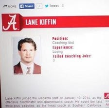 Screen grab of Lane Kiffin's hacked bio on the Alabama website, making the rounds on twitter
