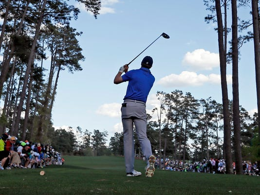 Jordan Spieth tees off on the 17th hole during the second round of the Masters golf tournament Friday, April 8, 2016, in Augusta, Ga. (AP Photo/David J. Phillip)