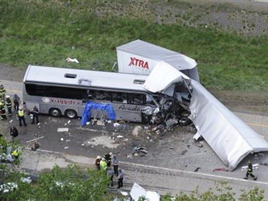 Bus Truck Highway Crash