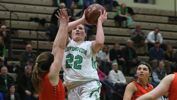 Irvington's Kelly Degnan (22) drives to the basket