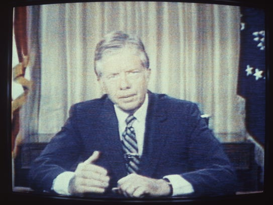 In an image taken off television, U.S. President Jimmy