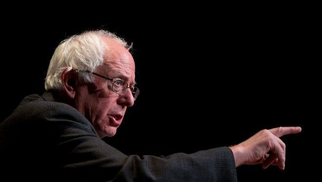 Sen. Bernie Sanders speaks during a campaign stop in Waverly, Iowa, on Jan. 8, 2016.