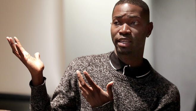"Tarell McCraney, here speaking to students on Monday at Lawrence University in Appleton, co-wrote ""Moonlight,"" which went on to win an Academy Award for Best Picture."