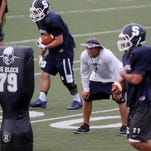 Middletown North football scrimmages against Allentown