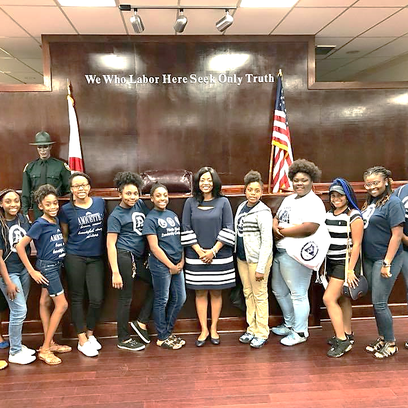 Clerk of Court Gwen Marshall speaks to youth group