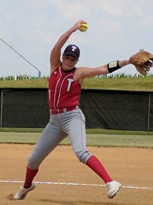 Tecumseh junior Maddie Duncan delivers a pitch during a game this season.