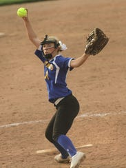 Ontario's Lauren Musille pitches while playing in the