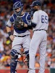 New York Yankees catcher Gary Sanchez and relief pitcher