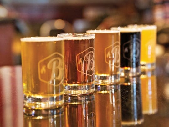 A sample of the craft beers offered at Babe's Bar-B-Que