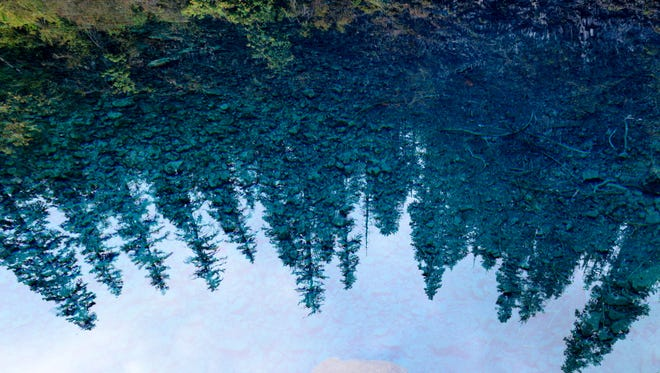 Towering trees are reflected in the vivid blue waters of Tamolitch Pool along the McKenzie River Trail.