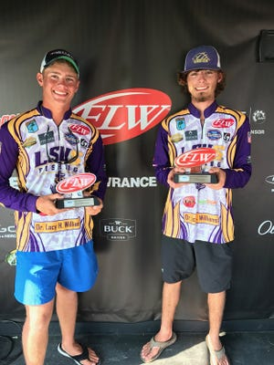 Harrison Hopkins of Bossier City and Ryan Antee of Hosston won the FLW college event Saturday on the Red River fishing for LSUS.