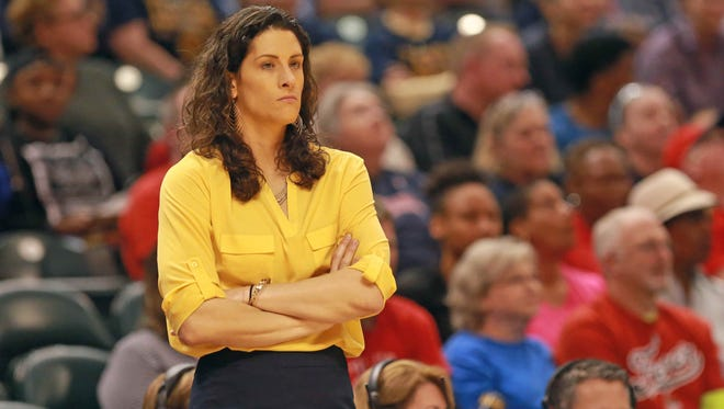 Indiana Fever Head Coach Stephanie White stands on the sidelines as the Indiana Fever play the Atlanta Dream at Bankers Life Fieldhouse, Friday May 20th, 2016.