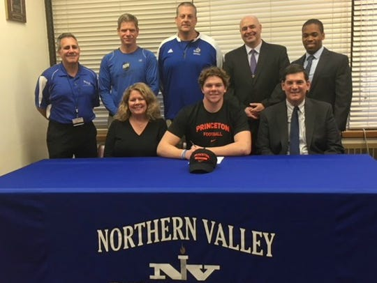 Connor Scaglione signing with Princeton: (seated, from