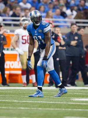 Detroit Lions wide receiver Calvin Johnson gets set to run a route against the San Francisco 49ers at Ford Field in Detroit on Dec. 27, 2015.