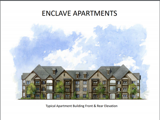 This rendering shows what the Enclave Apartments will look like on Memorial Boulevard and Kings Ridge Drive in Murfreesboro.