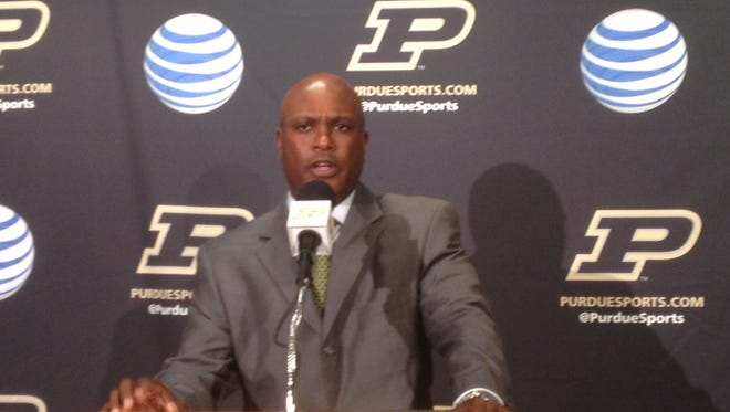 Purdue football coach Darrell Hazell at Tuesday's press conference