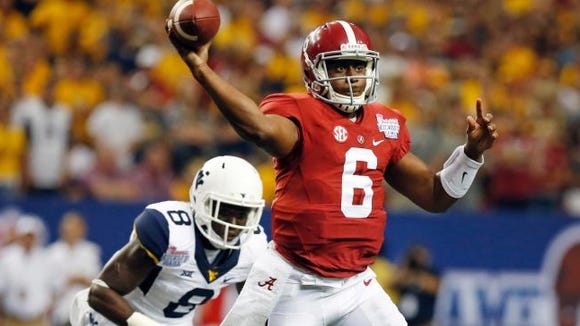 Alabama fifth-year senior quarterback Blake Sims has completed 75 percent of his passes in his first three games.