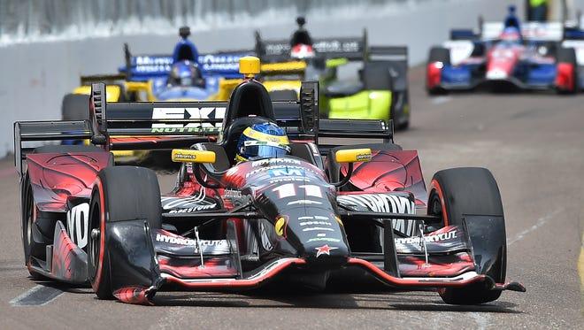 Verizon IndyCar Series driver Sebastien Bourdais (11) races during the Grand Prix of St. Petersburg at streets of St. Petersburg.