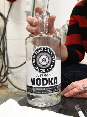 A sample of a vodka bottle from the Iron Vault Distillery in Galion.