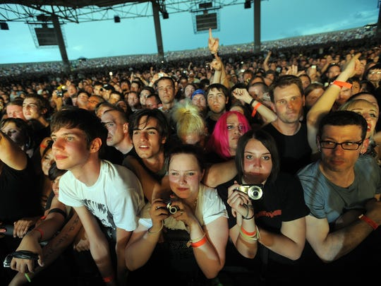 Fans gather near the stage for a Nine Inch Nails show at Klipsch Music Center in 2009.