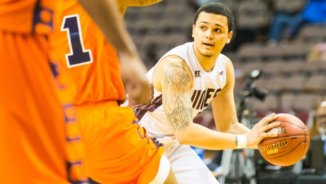 UMES guard Ryan Andino (0) looks to pass against Morgan State during the MEAC Tournament at The Scope in Norfolk on Tuesday, March 8, 2016.