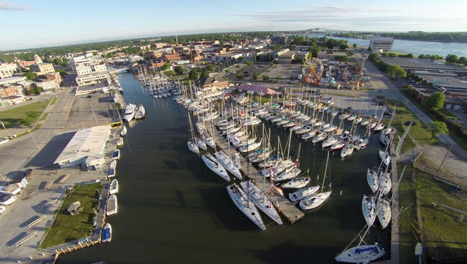 Sailboat line the Black River early morning Friday, July 15, 2016 in Port Huron. Over 220 boats are planning to race to Mackinac Island Saturday in the 2016 Port Huron-to-Mackinac Island Sailboat Race.