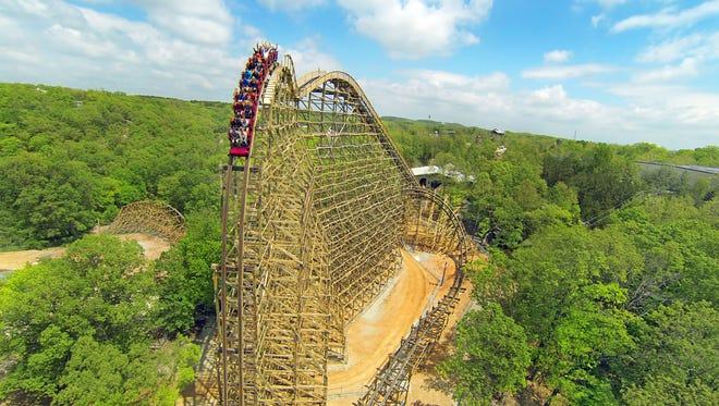 Outlaw Run, a wooden roller coaster at Branson's Silver Dollar City.