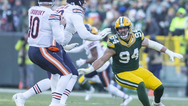 Green Bay Packers defensive lineman Dean Lowry attempts to get to Chicago Bears quarterback Mitchell Trubisky on Dec. 15, 2019, at Lambeau Field in Green Bay.