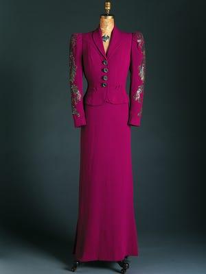 Elsa Schiaparelli, Italian, 1890-1973. Dinner Suit: Dress and Jacket, Spring 1938 silk crepe with gelatin and metal sequins. Gift of Mrs. John Hammond