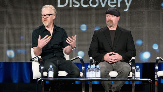 TV personalities Adam Savage (L) and Jamie Hyneman speak onstage during Discovery's 'MythBusters' panel at Discovery Communications' 2015 Winter Television Critics Association press tour.