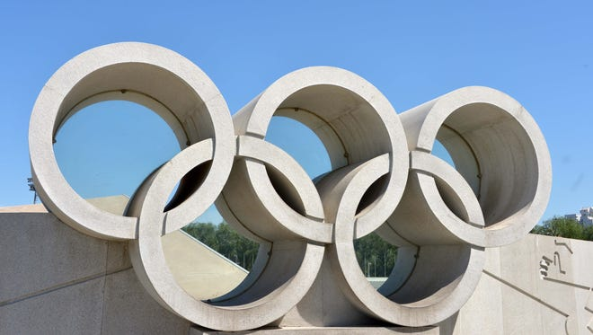 General view of the Olympic rings in advance of the IAAF World Championships in Athletics in Beijing in 2015.