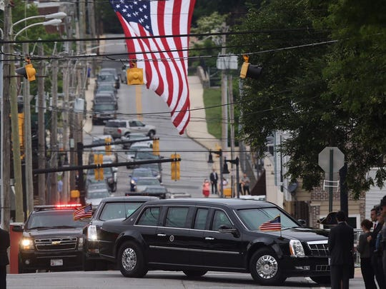 The presidential motorcade arrives at the funeral of Beau Biden at St. Anthony of Padua Roman Catholic Church in Wilmington on Saturday. President Barack Obama is delivering the eulogy.