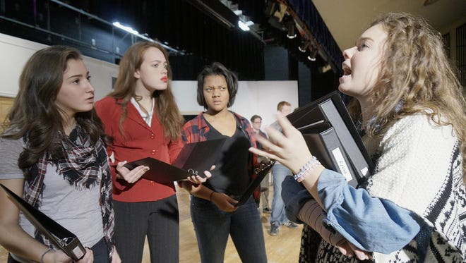 At right, Isabella Kissick (Phyllis), delivers yet another script change and actors Chloe Grisa (Aggie), Allison Cale (Gerry), and Amber Ramsey (Louise) object.