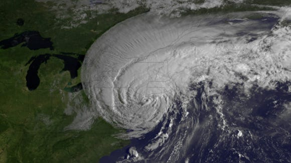 Tropical Storm Irene making landfall in August 2011 (Source: NOAA)