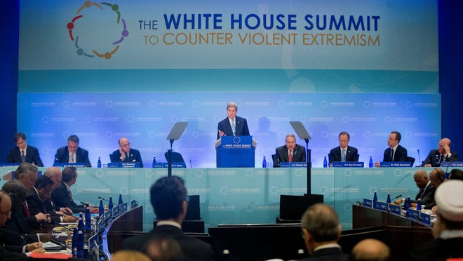 Secretary of State John Kerry speaks at the Countering Violent Extremism (CVE) Summit, Thursday, Feb. 19, 2015, at the State Department in Washington.