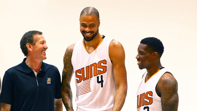 Sep 28, 2015: Phoenix Suns head coach Jeff Hornacek (left), center Tyson Chandler (center) and guard Eric Bledsoe pose for a portrait during media day at Talking Stick Resort Arena.