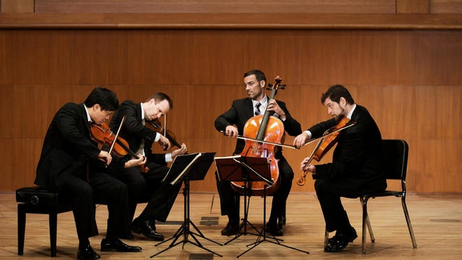 The Miro Quartet -- Daniel Ching, from left, William Fedkenheuer, Joshua Gindele and John Largess -- performed Tuesday with cellist Clive Greensmith at the Norton Musuem.