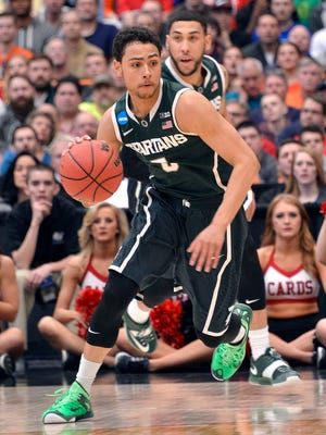 Bryn Forbes and the Spartans play Kansas in the State Farm Champions Classic.