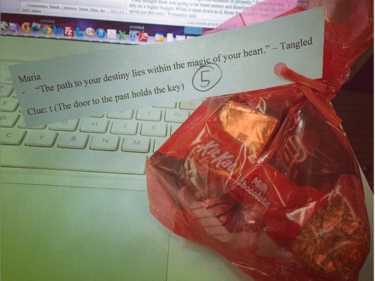 Pacific Daily News reporter Maria Hernandez was one of 26 PDN employees who received a red bag filled with chocolate candy on June 5. The bags each had a note attached with a quote from a Disney film. Hernandez posted this photo to her Instagram account.