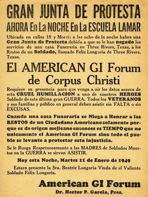 CONTRIBUTED PHOTO A flyer in Spanish calls for protest in the Longoria Affair, one of many such artifacts are a part of Dr. Hector P. Garcia's papers housed at Texas A&M University-Corpus Christi.