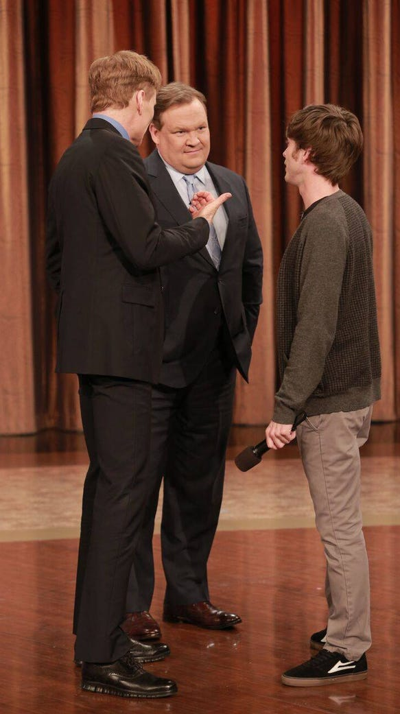 """Steve Gillespie (right) appeared on """"Conan."""""""