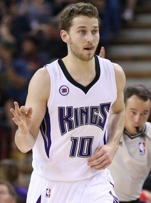 Sacramento Kings guard Nik Stauskas (10) gestures after a three-point basket against the Charlotte Hornets.