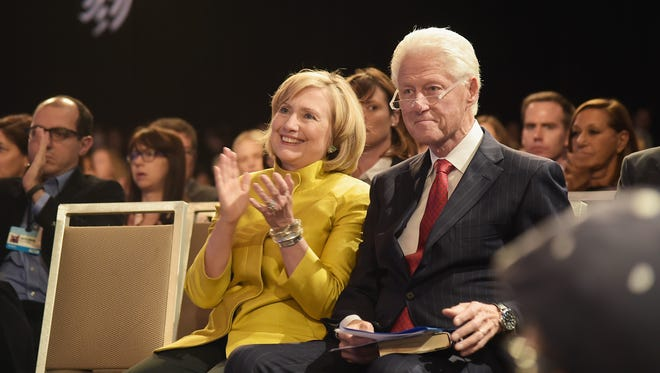 The Clintons attend the Clinton Global Initiative's 10th annual meeting in New York on Sept. 24, 2014.