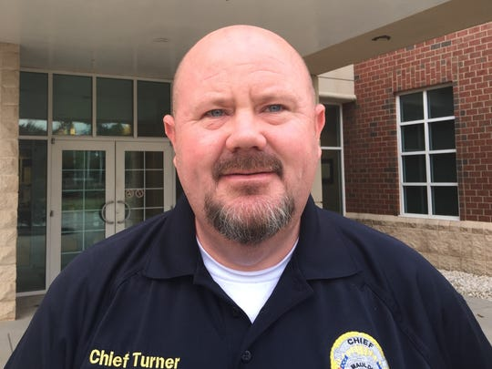 Mauldin Police Chief Bryan Turner poses for a photo in front of Mauldin City Hall on Thursday, May 24, 2018, after being appointed interim city administrator by the city council.