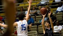 Prattville Christian's Ben Segars shoots a 3-pointer