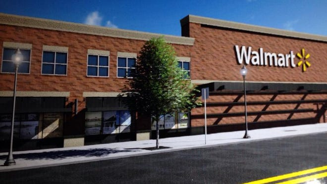 Walmart is asking the city to rezone about 15 acres in the Broadway shopping district for a 154,000-square-foot retail store.