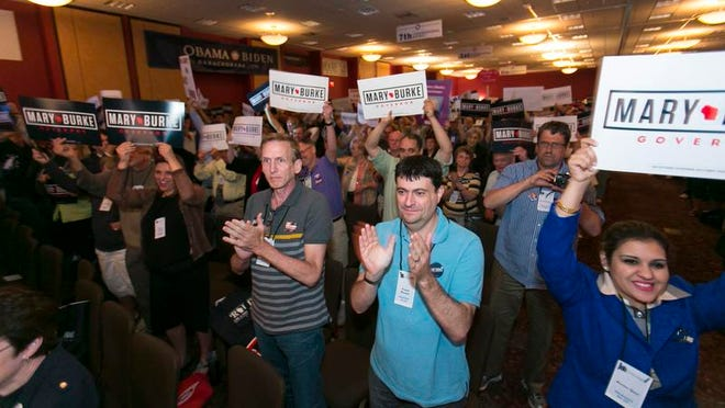 Delegates applaud at the 2014 Democratic Party of Wisconsin convention in Lake Delton.